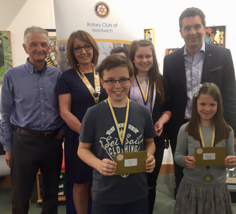 Martin Greenwood (Art Competition Judge), Christine Crowe (Rotary Club of Nantwich President), Joe Jones (Gold Medal, Audlem School), Amy Boulton (Gold Medal, Pear Tree School), Edward Timpson MP and Olivia Cargill, Stapeley Broad Lane