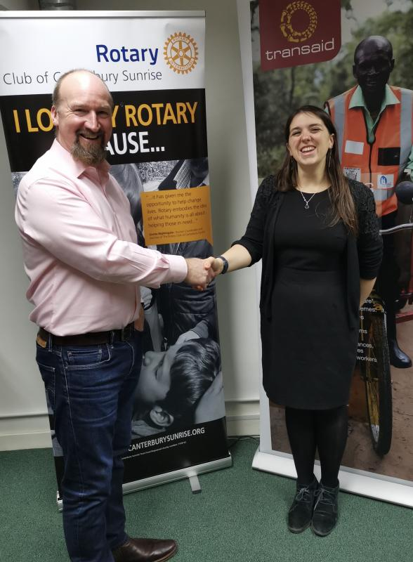 Past President Berin Riley presenting Florence Bearman with the Rotary donation of £1500.