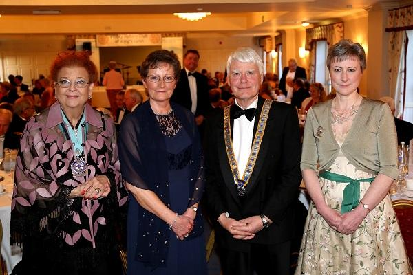 May Ball - from the left Dorothy Pulsford-Harris Rotary District Governor elect, John Harrison, Priory President, Margaret Tasker, Chair of the Trustees of Homestart and Andrea Pearson President of  the Soroptomists