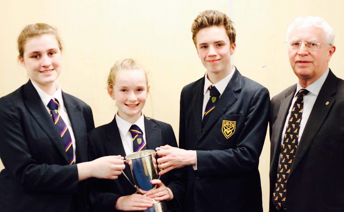 Senior Schools' Public Speaking Competition - L-R Rebecca Minay, Charlotte Peach, Matthew Tait and Howard Callow (President Rotary Club of Douglas)