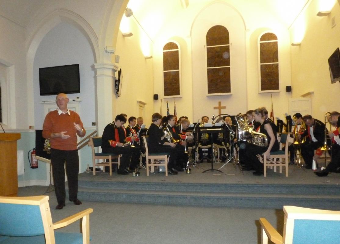 BAND CONCERT IN SANDAL METHODIST CHURCH - The concert, organised by Ray Spencer from the Rotary Club of Wakefield Chantry, (pictured introducing the band) is now in its 10th year