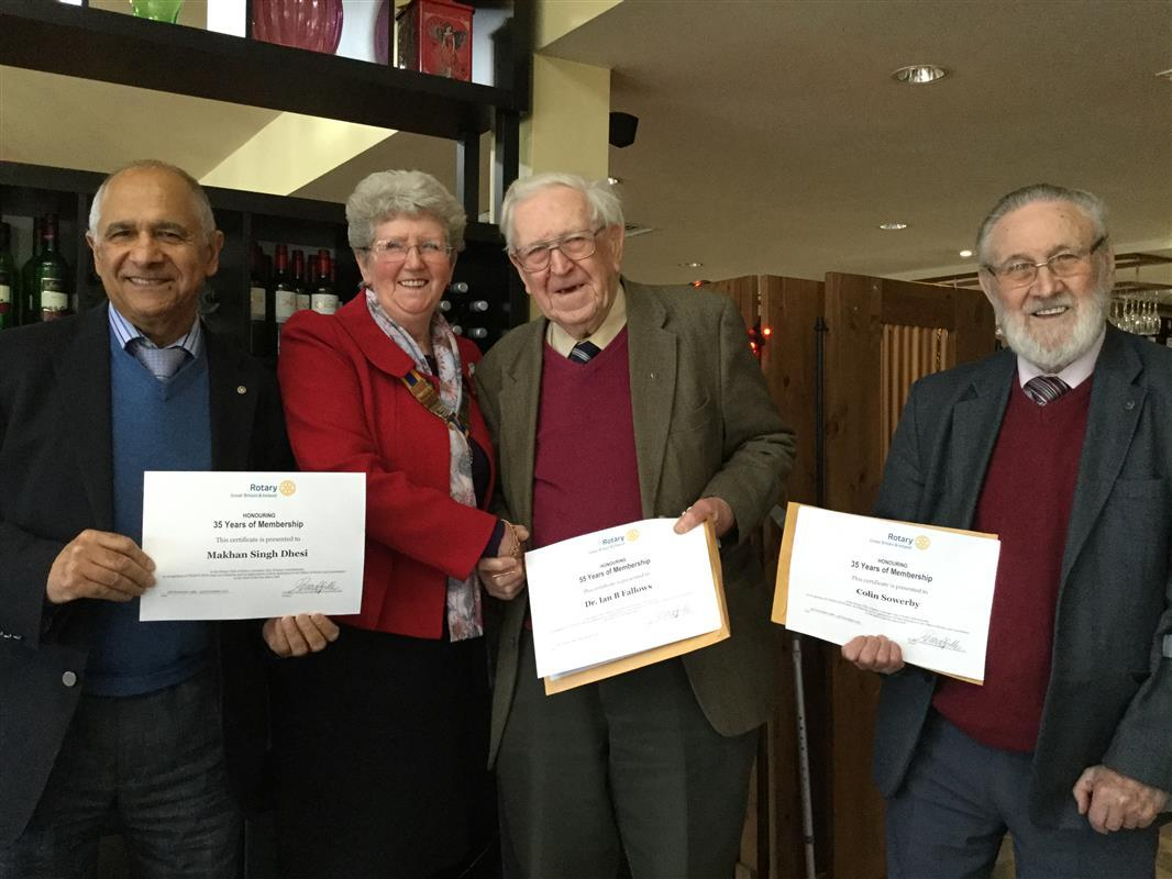 Long Service Honoured - President Pat with all three recipients