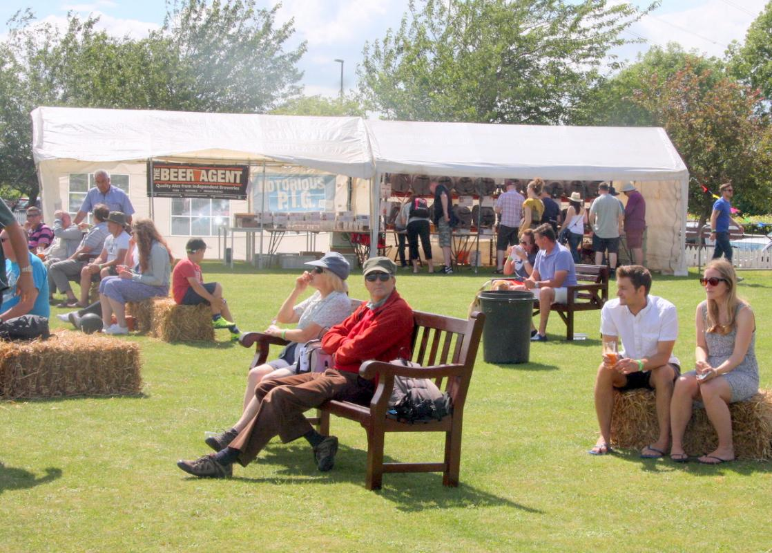 Beer tent and spectators enjoying the day