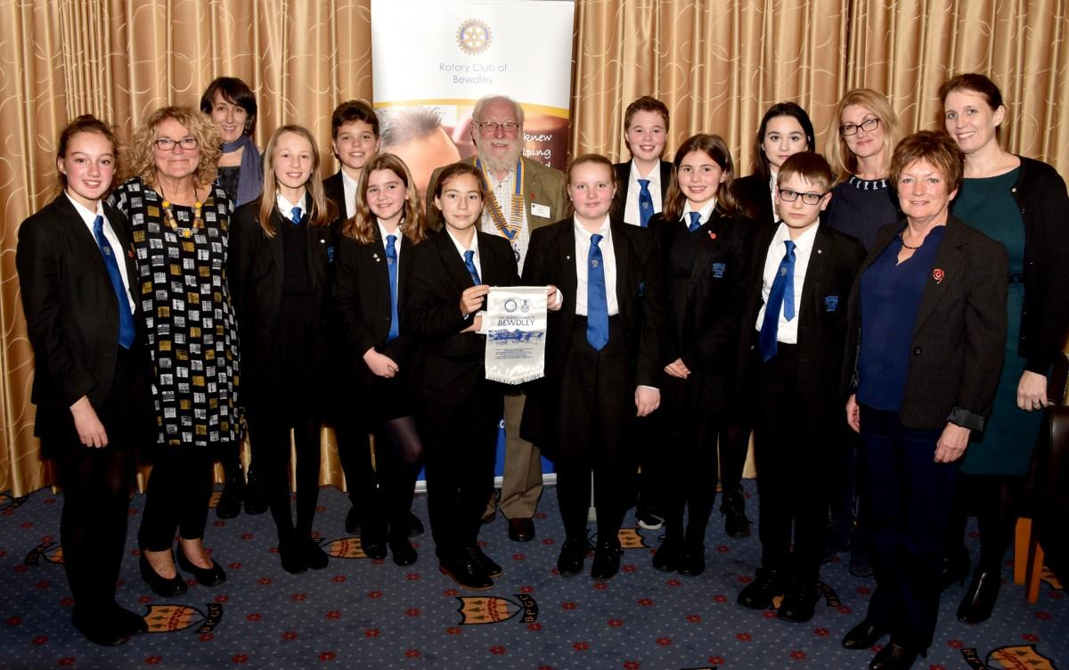 Bewdley School Interactors who presented their plans to Bewdley Rotary Club with staff members