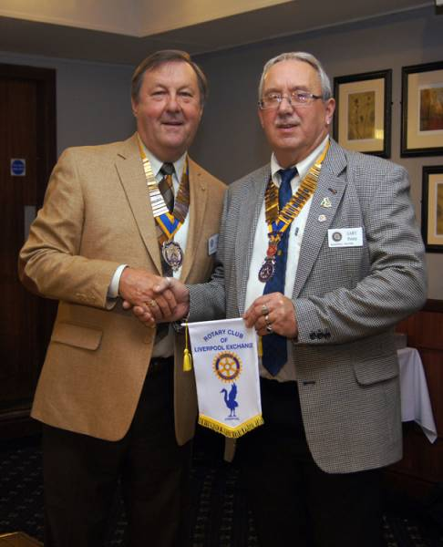 Visit to Rotary Club of Blackpool Palatine - Liverpool Exchange president and Blackpool Palatine President Gary Pretty
