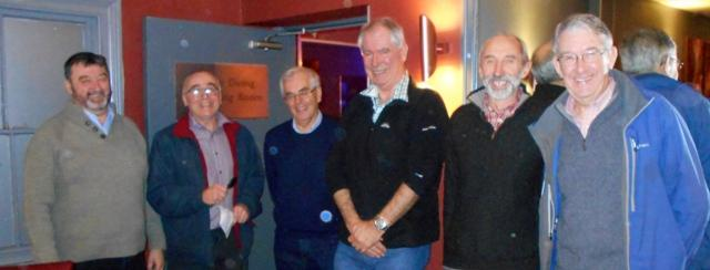 The top bowlers of the evening -Nigel, Peter, Gwilym and Hywel with President Gwynfor and evening organiser Kevin