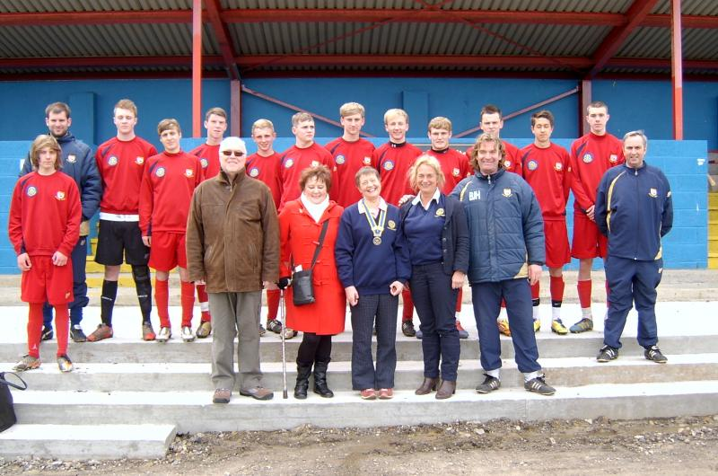 Brandon United U18 FC with members of Durham Elvet Rotary Club