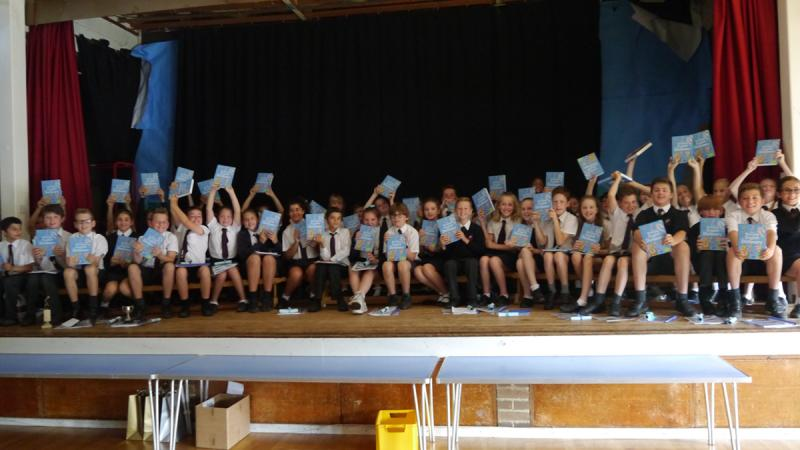 Year 6 pupils from Brookmans Park School receive their copies of Usborne Dictionaries