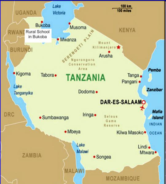 Two Projects to build Classrooms for a School in Bukoba, Tanzania - Map showing the location of Bukoba in Northern Tanzania, on the Western shore of Lake Victoria, close to the border with Uganda.