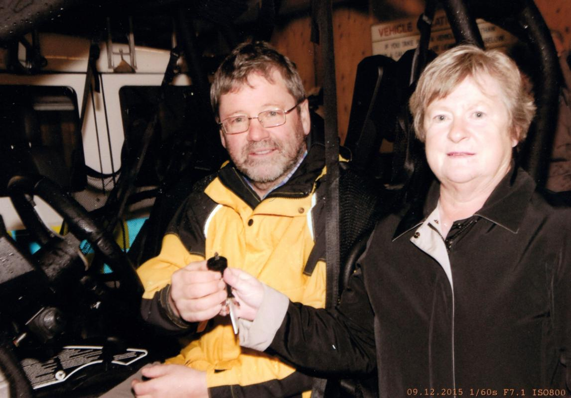 Barbara's Project - Barbara hands over the keys of the vehicle to Team Leader, Willie Anderson.