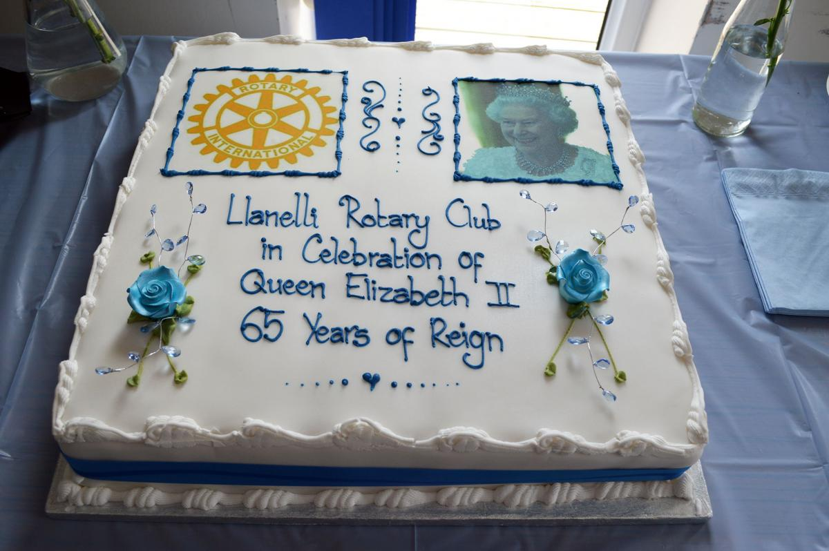Llanelli Rotary holds Sapphire Tea Party for the elderly - Cake to celebrate Llanelli Rotary Sapphire Tea Party