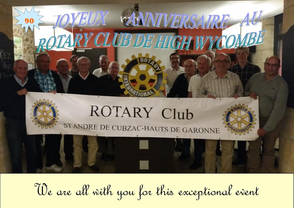 Happy 90th Birthday from Le Rotary club de St André de Cubzac