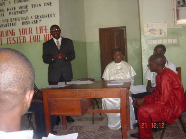 August 2009 wheelchair exhibition in Koidu - Chairman for the program, Abu Amara