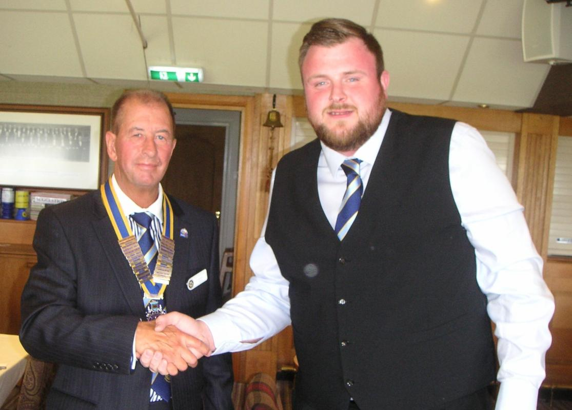 Club Changeover - Mike congratulating President Gordon