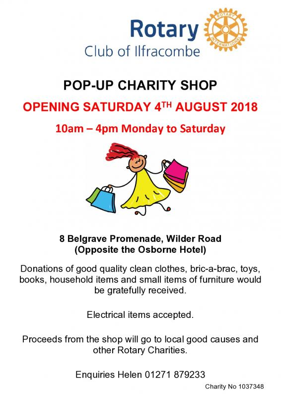 Pop-up Charity Shop opening 4th August until mid September