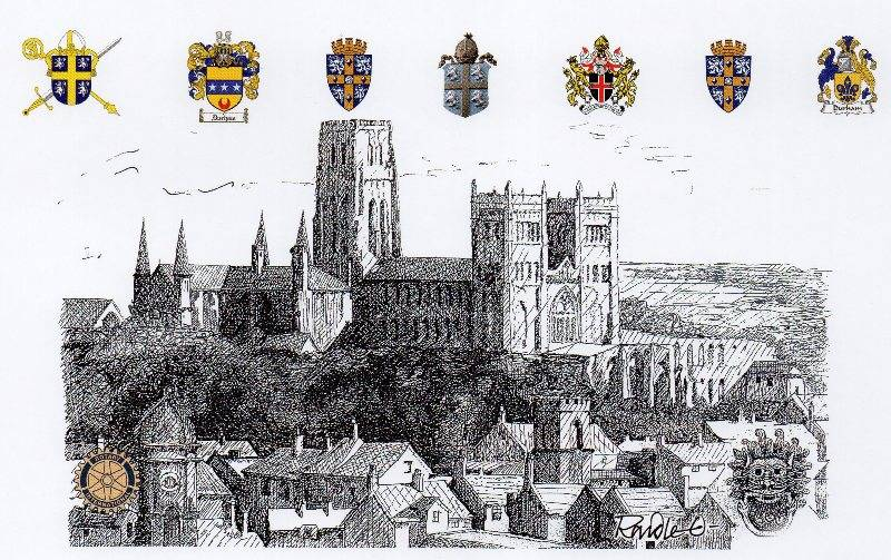 Christmas Cards 2014 - A drawing of Durham Cathedral by Randle Oliver.