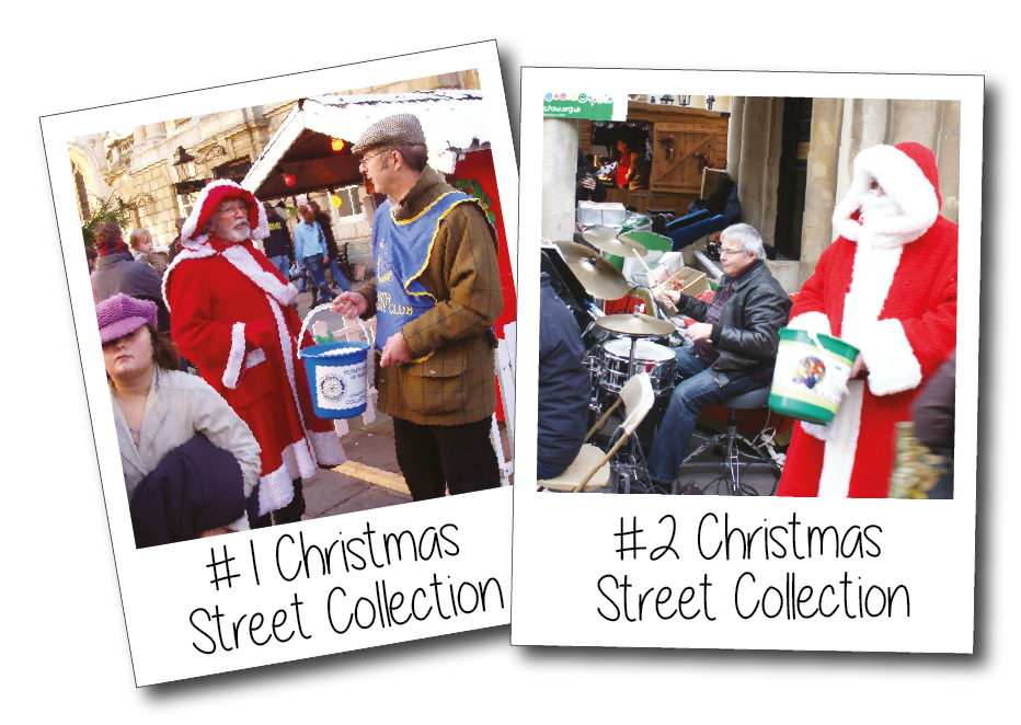 Father Christmas, and local musicians, help us collect for local charities
