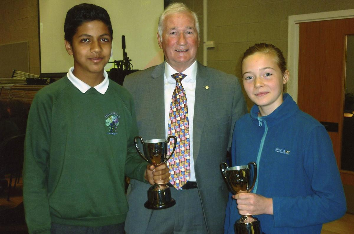 Citizenship Awards for Hillhead Primary School - The winners of this year's Hillhead Primary School's Citizenship awards were Karan Roul (left) and Robin Crossley.  They are with Club President Andy Donaldson.