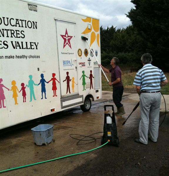 Club members after cleaning the mobile classroom earlier this year.