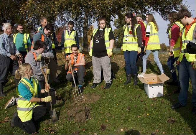 Stroud College students and Stroud Rotary members planting crocus in Stratford Park.