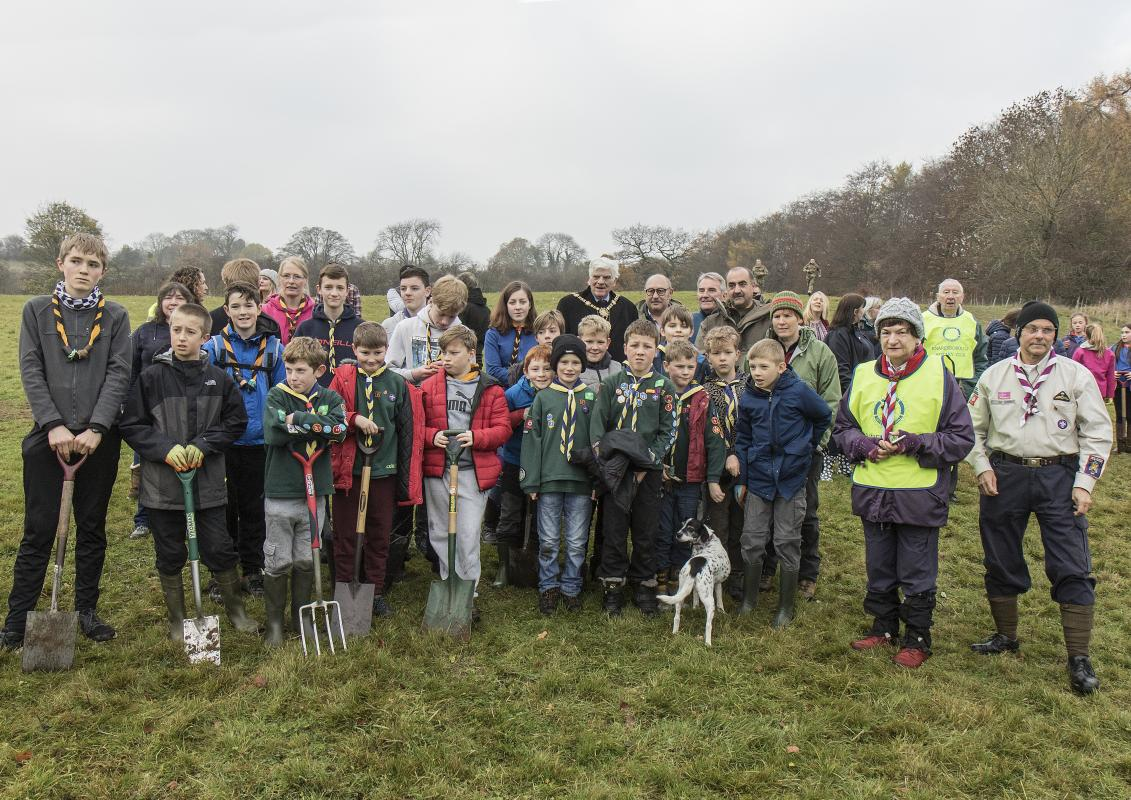 Memorial First World War Centenary Peace Wood tree planting, Saturday 17th November 2018 - Cubs, Scouts and Guides with the Mayors of Harrogate and Knaresborough amongst those who helped to plant the 'Peace Wood'.