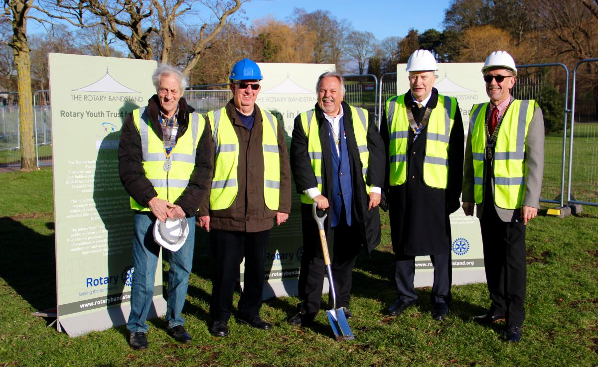 Breaking ground on the Luton Bandstand - L – R Jack Walter (President Luton), Peter White (President Luton Chiltern),  DG Dave, with the spade, Michael Dolling (President Luton North), Andy Calvert (President Luton Someries)