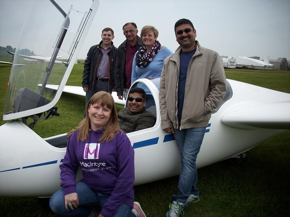 Looking remarkably relaxed before their flights are – Ross Tomlin, Indra Patel, Sally Firth, Donna White (MacIntyre), Mukesh Kumar (seated) and Vivek Suman.