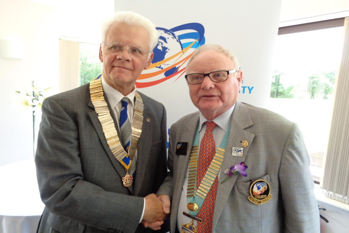 District Governor Peter with Club President Rob Franks