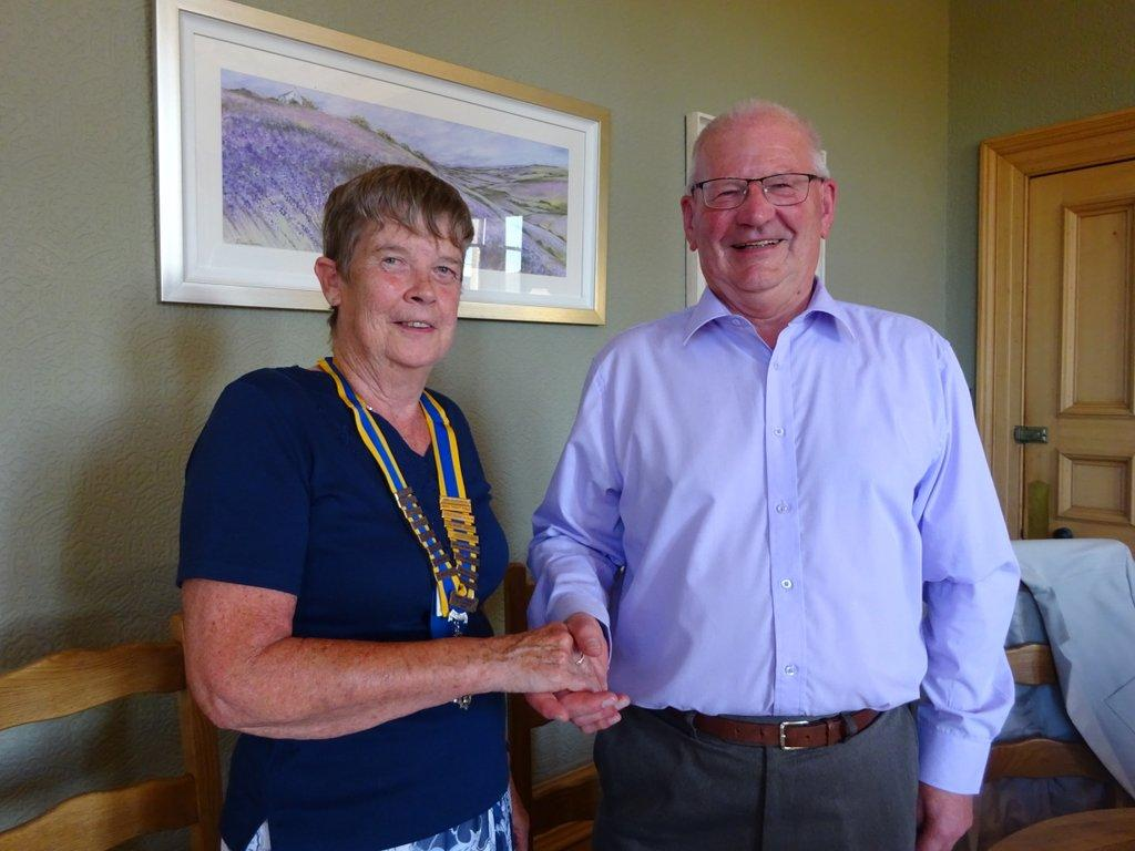 Club Assembly and Handover - Scott Elliot hands over the Chain of Office to incoming 2018-19 president Mairhi Trickett