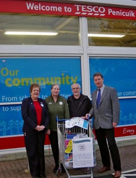 The management of Tesco in Penicuik agreed to let the Rotary seek donations from the staff and public of the small items required for the Mary's Meals Back Pack scheme.