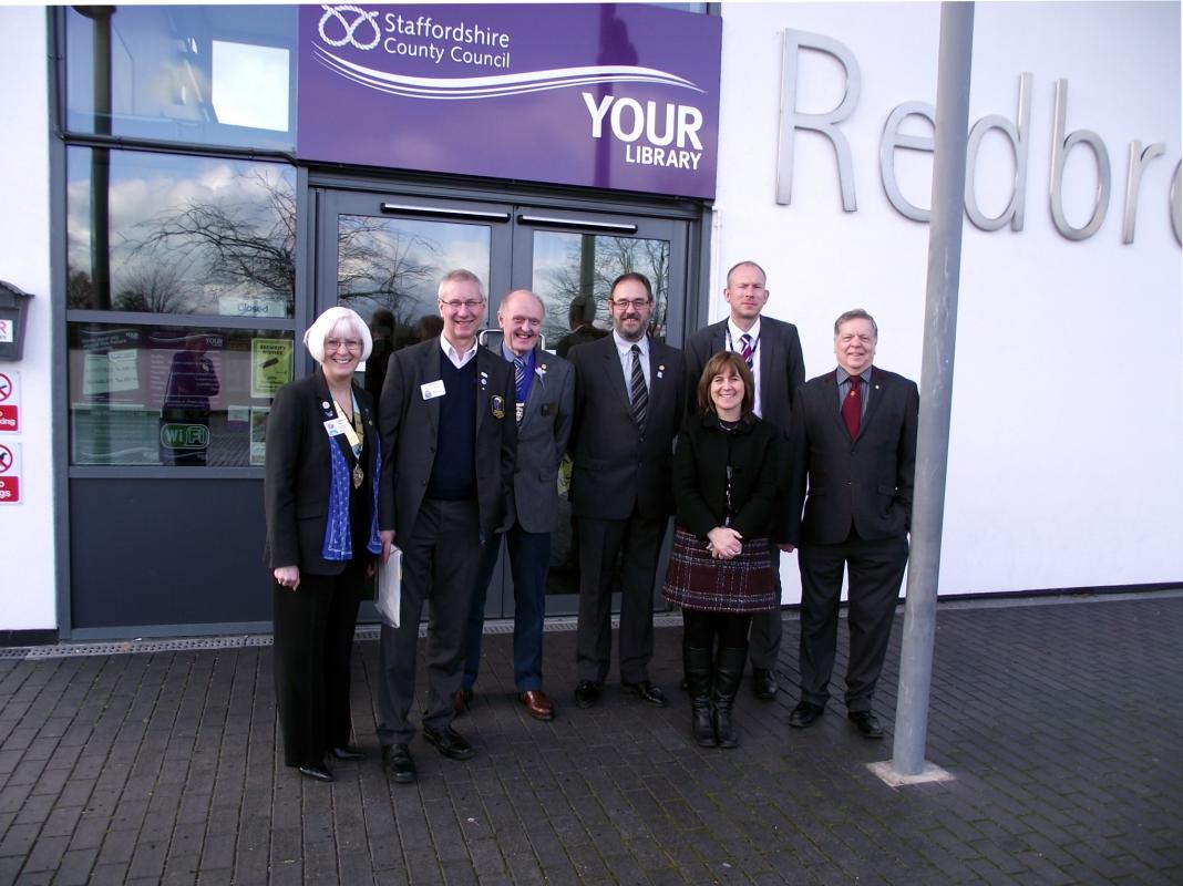RIBI Dennis Spiller visits the library along with DG Carol Reilly, District Community Chair Ted Clewley; Club President Ron Ashley and representatives of Staffordshire County Council on the occasion of the opening after being taken over by the lcub.