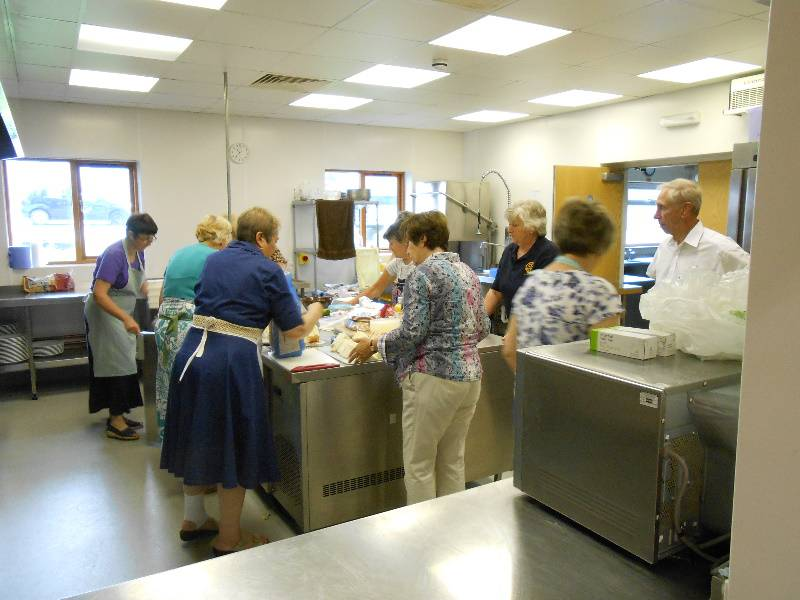 Strawberry Tea 2014 - The kitchen gets busy in preparation for the 2014 Strawberry Tea in the Holsworthy Memorial Hall