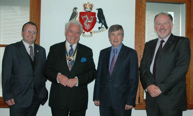 L-R President Elect Bob Dowty, President Sam Alder, Minister Phil Gawne, Rotarian Kevin Kneen