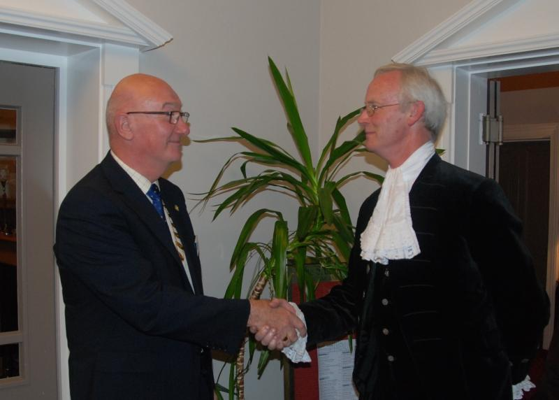 Trinity up before the Sheriff - President Jim Milne welcoming the High Sheriff