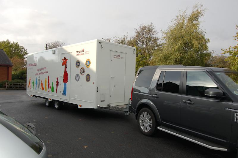 Rotary assisting Lancashire Schools by providing towing facilities to move the Life Education caravan from School to school