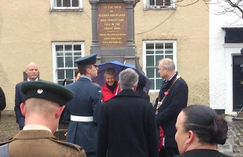 Remembrance Sunday 2015 - President David Breden alongside War Memorial