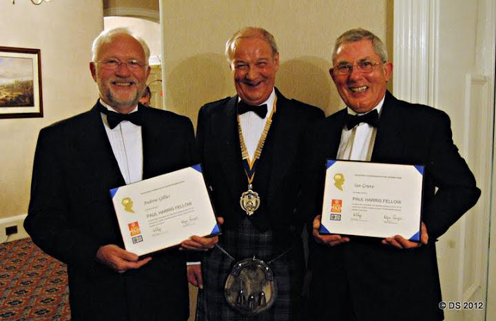 The Charter Dinner saw two Paul Harris Fellowships bestowed upon club members