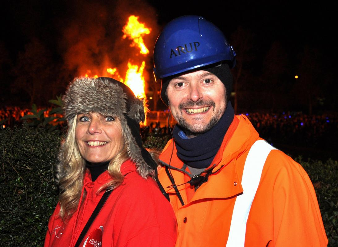Clitheroe Community Bonfire 2016 - Bonfire Committee Chairman, Andy Belcham and Cath Lord-Green of Ribble Valley 106 FM