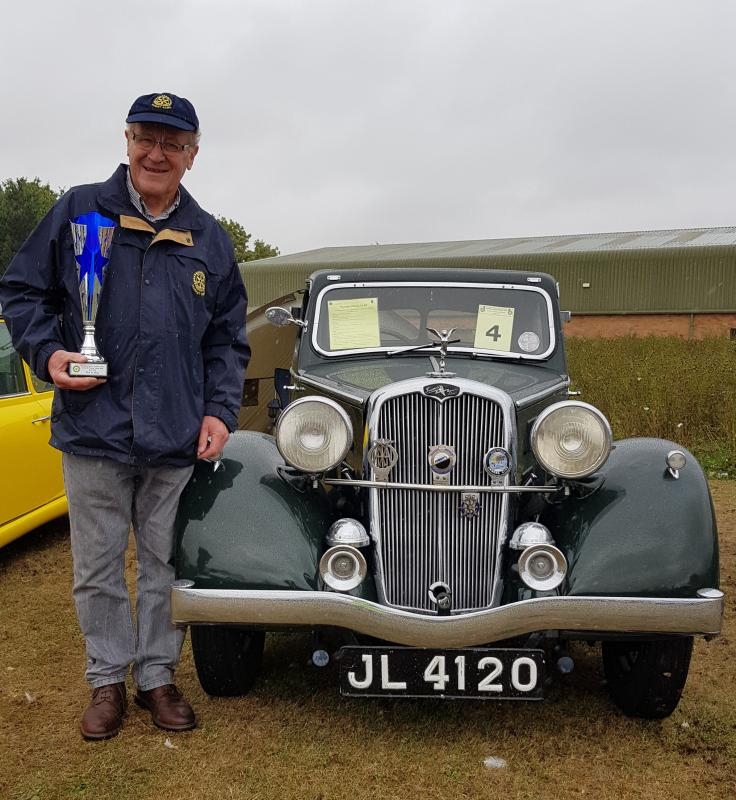 LINCOLN CLASSIC AND VINTAGE VEHICLE RALLY 2018 - David Mason and Tessa his Triumph Vitesse 14-60 winner of the 2018 Lincoln Classic Vehicle Rally