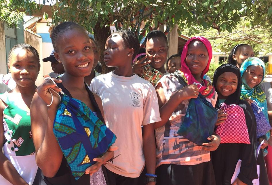 This photograph shows Kenyan girls proudly displaying their Yorkits hygiene kits. The image was supplied by the 'Educate the Kids' project in Mombassa, Kenya.