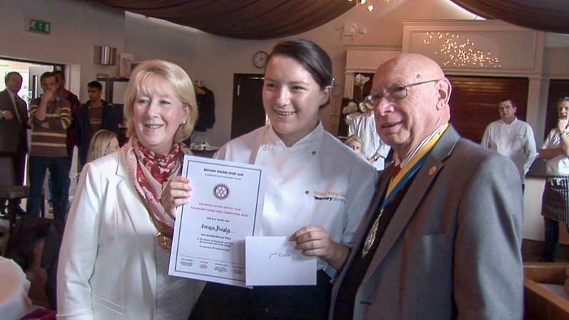 Young Chef 2015 District and Regional Results - Emma receiving her prize in Bournemouth from the Mayor and the Rotary President
