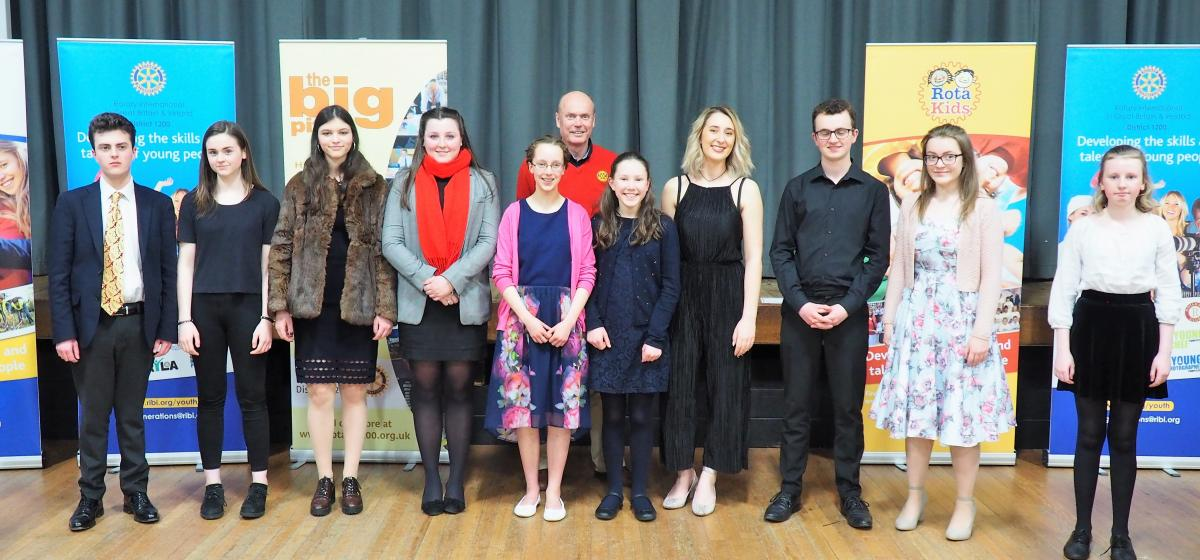 Young Musician - Young Musician District Finalists 2018 with District Governor Stewart Cursley (centre)