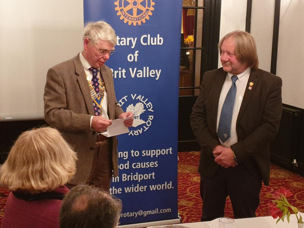"Adrian ""Dougal"" Scadding being welcomed into the Rotary Club of Brit Valley, by President Ian Ibbotson."