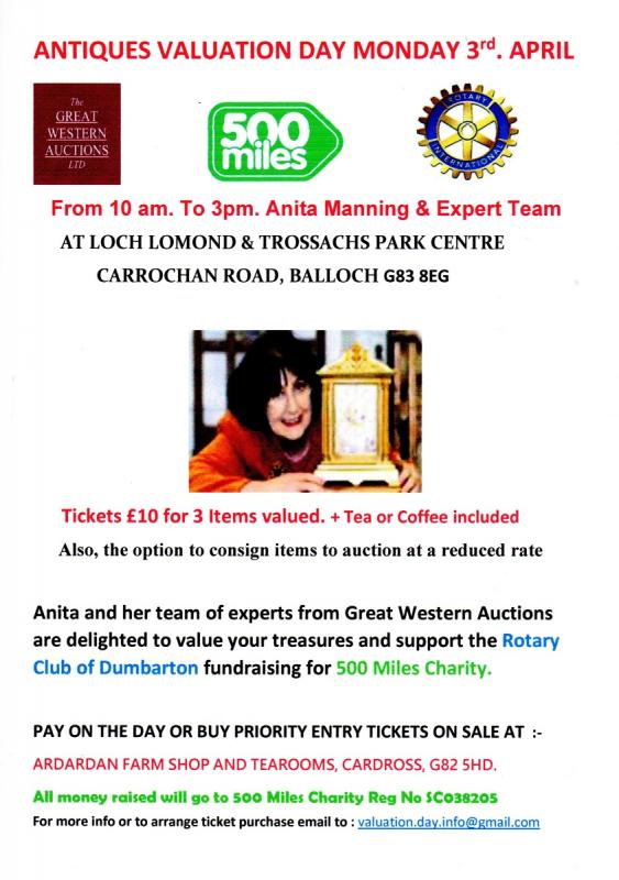 Dumbarton Charity Valuation Day Flyer
