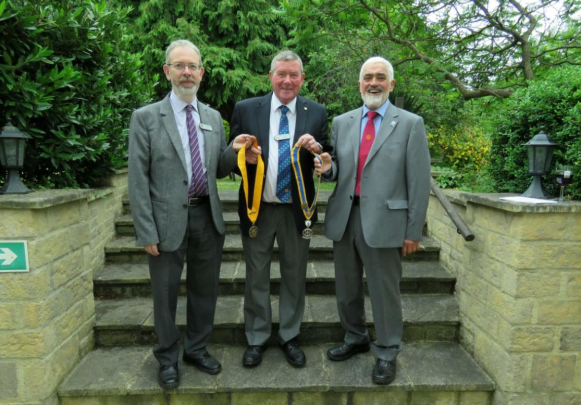 Dursley Club Handover --- Outgoing President Graham Peake, Incoming President Terry Pascoe and President Nominee Andrew Pinch