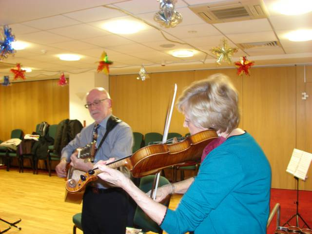 Brenda Wighton, ably accompanied by Colin Cosgrove, ensured the Christmas ladies' night went with a swing with her poems, songs and fiddle tunes. A multiple talent