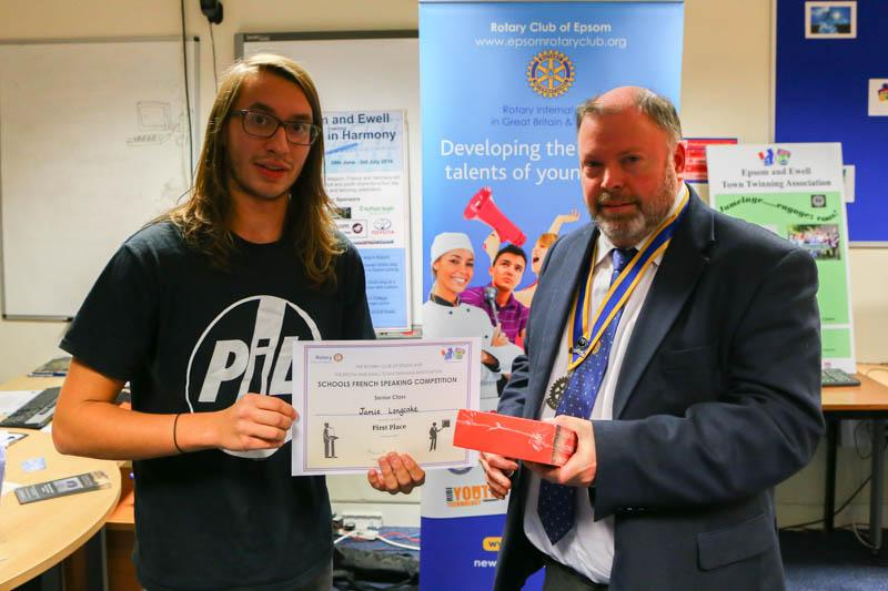 Senior French Speaking 2015 - The winner, Jamie Longcake from Glyn School with Rotary Club of Epsom President Andy Ballard