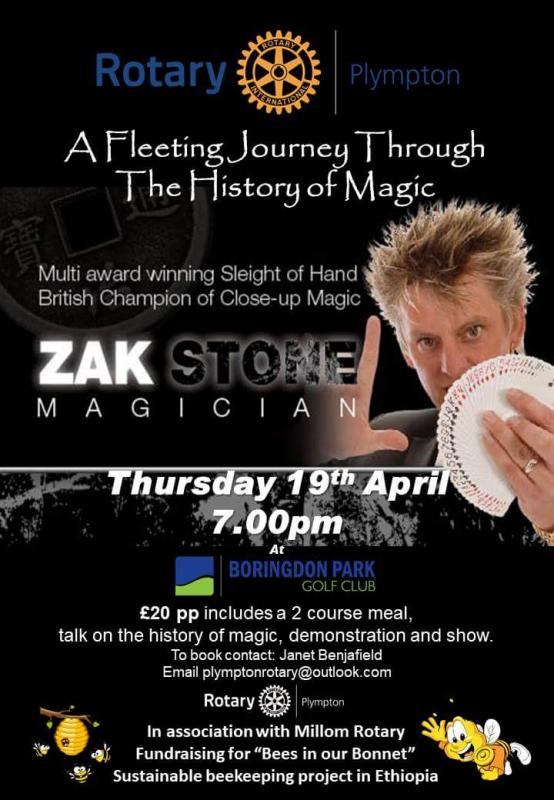An Evening of Magic - One of the UK's leading magicians, Zak Stone recently visited the club to give a talk on magic through the ages as well performing a great stage show.  He also did some close at hand magic tricks around the tables which baffled all of us.