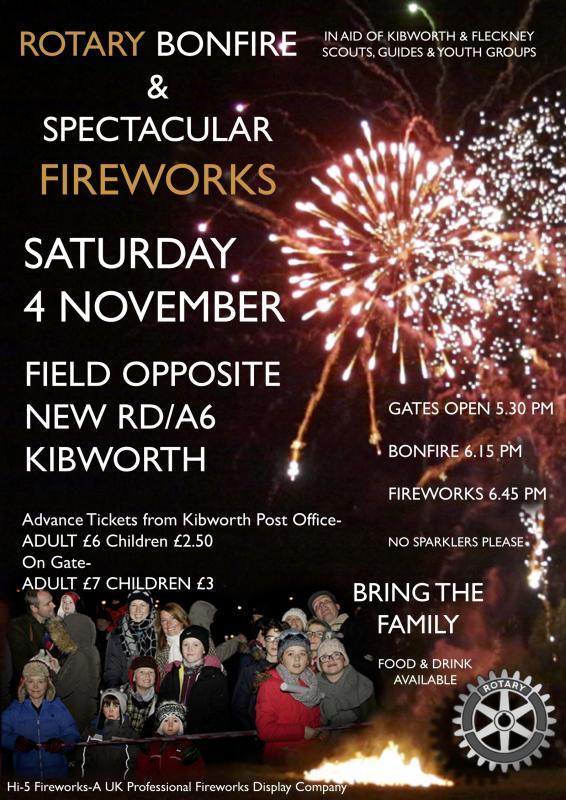 bonfire and firework display rotary club of kibworth fleckney