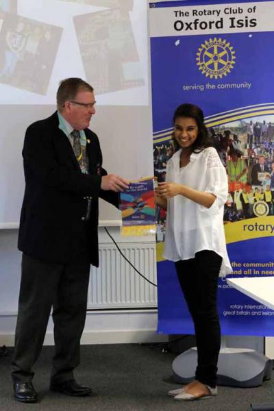 District Governor Fred King welcomes Oxford Academy Interact President Lugain Altohamy